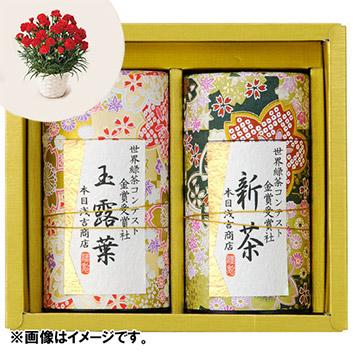 【母の日】★ANAショッピングオリジナル★新茶と生花カーネーション鉢植え ※送料込