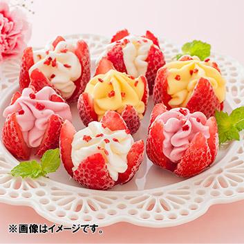 【母の日】博多あまおう花いちごのアイス メッセージブーケ付<br>※送料込