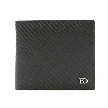 【タカシマヤ セレクト】<BRAMA DOVE>カーボンレザー二つ折り財布