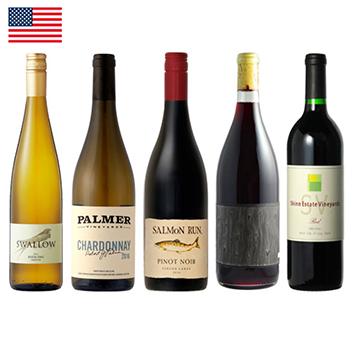 【送料無料】新トレンド!アメリカエレガント系赤・白ワイン5本セット