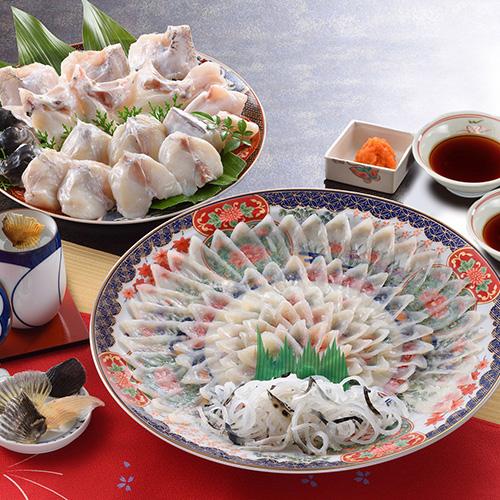 ふく料理フルコース(絵皿・菊盛)