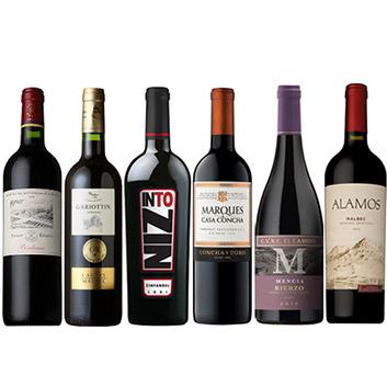 【送料無料】世界の地ブドウで巡るフルボディ赤ワイン6本セット