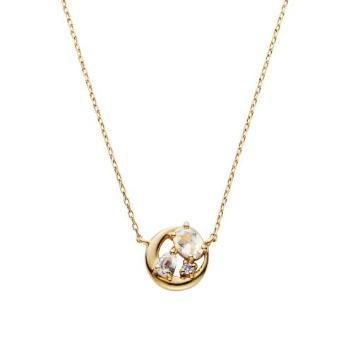 <VAヴァンドーム青山>【WEB限定】K10YGダイヤモンド レインボームーンストーン ムーンネックレス
