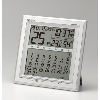 <リズム時計>フィットウェーブカレンダーD205(電波時計)