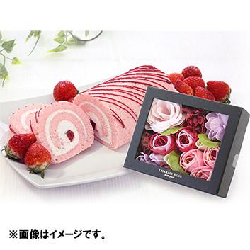 【母の日】<完熟いちご菓子研究所>完熟いちごロールとハーバリウムのセット ※送料込