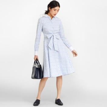 <ブルックス ブラザーズ>コットン ストライプ マルチクリップドット クレリックシャツドレス