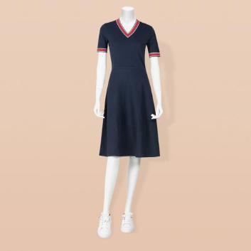 <ブルックス ブラザーズ>Red Fleece レーヨン/ナイロン ティッピング Vネックセータードレス