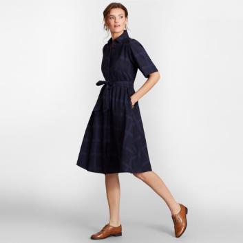 <ブルックス ブラザーズ>コットン ジャカードチェック ショートスリーブシャツドレス
