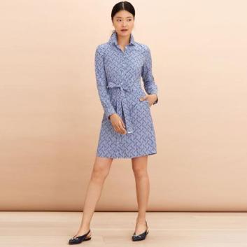 <ブルックス ブラザーズ>Red Fleece コットンポプリン ストライプ ロゴプリント シャツドレス