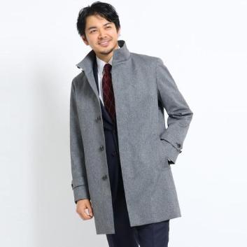 <タケオキクチ>メランジカルゼラミネートスタンドカラーコート