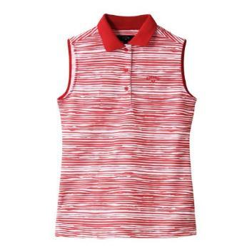 <キャロウェイアパレル>【吸汗速乾】ボーダープリントノースリーブポロシャツ