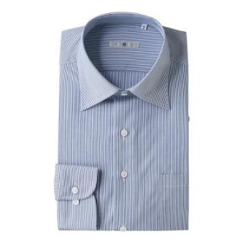 <スーツセレクト>ロンドンストライプワイドカラーブルーワイシャツ(オイルガード)