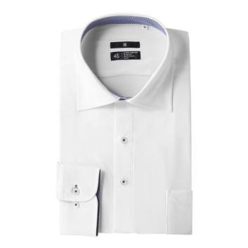 <スーツセレクト>襟・袖裏チェックワイドカラー白ワイシャツ(ストレッチ・ノーアイロン)