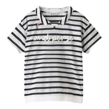 <アンパスィ>【吸水速乾】ドライミックス ボーダー半袖シャツ