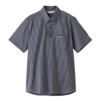 <ブラックアンドホワイト>ギンガムチェック半袖シャツ
