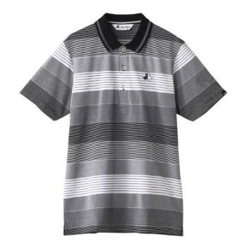 <ブラックアンドホワイト>マルチボーダーポロシャツ