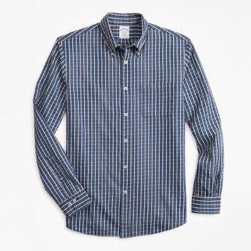 <ブルックス ブラザーズ>コットンツイル インディゴダイ スポーツシャツ Regent Fit