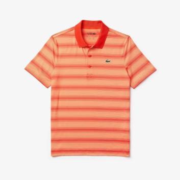 <ラコステ>ウルトラドライ仕様ストライプゴルフポロシャツ