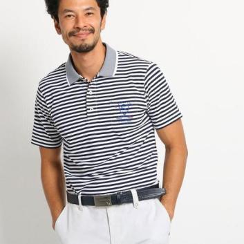 <アダバット>【吸水速乾/UVカット】胸ポケット付きボーダー半袖ポロシャツ