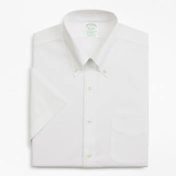 <ブルックス ブラザーズ>ノンアイロン ストレッチコットン ピンポイントオックスフォード ショートスリーブポロカラーシャツ New Milano Fit