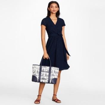 <ブルックス ブラザーズ>ストレッチジャージー アイレット ショートスリーブ フェイクラップドレス