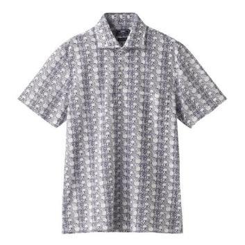 <ジム>フルーツ柄ワイドカラーポロシャツ