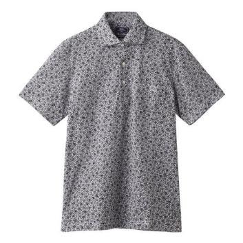 <ジム>小花柄プリントシルケットワイドカラーポロシャツ