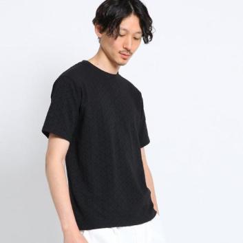 <タケオキクチ>紗綾型柄リンクス クルーネック 半袖カットソー