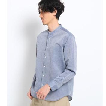 <タケオキクチ>Herdmans Linen バンドカラーシャツ