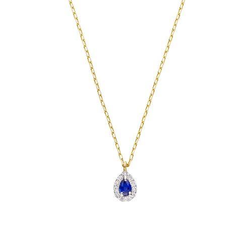 <VAヴァンドーム青山>サファイア  ダイヤモンド取り巻きネックレス