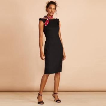 <ブルックス ブラザーズ>Red Fleece リネンブレンド ストレッチツイル ラッフルスリーブドレス