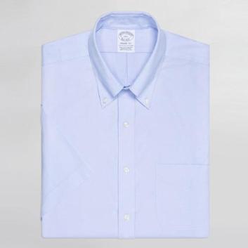 <ブルックス ブラザーズ>ノンアイロン ストレッチコットン ピンポイントオックスフォード ショートスリーブポロカラーシャツ Regent Fit