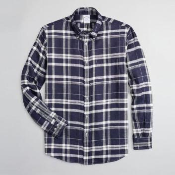<ブルックス ブラザーズ>アイリッシュリネン オーバーサイズプラッド スポーツシャツ Regent Fit