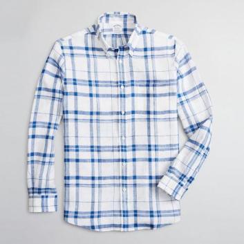 <ブルックス ブラザーズ>アイリッシュリネン ラージプラッド スポーツシャツ Regent Fit