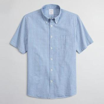 <ブルックス ブラザーズ>コットンシアサッカー ギンガムチェック ショートスリーブ スポーツシャツ Regent Fit