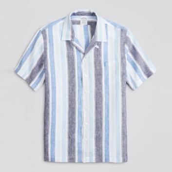 <ブルックス ブラザーズ>アイリッシュリネン ワイドマルチストライプ ショートスリーブキャンプシャツ Regent Fit