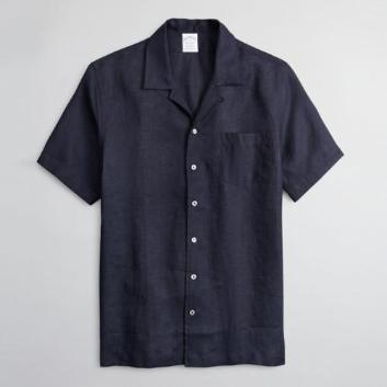 <ブルックス ブラザーズ>アイリッシュリネン ソリッド ショートスリーブキャンプシャツ Regent Fit