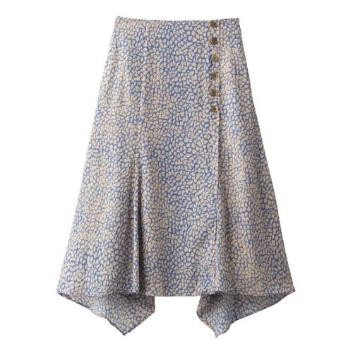 <スリードッツ>Retro print side button skirt