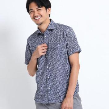 <タケオキクチ>小花プリント半袖サッカーシャツ