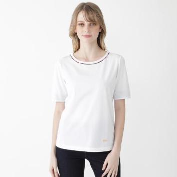 <ブルーレーベル・クレストブリッジ>プレーティングシルケット天竺袖口チェックTシャツ
