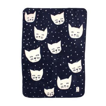 <ファブラスグース>ブランケット(ひざ掛けサイズ)CAT ネイビー/オフホワイト