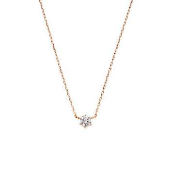 <VAヴァンドーム青山>K18PG ダイヤモンド一石ネックレス