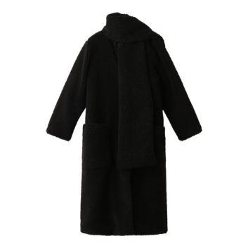 <スリードッツ>Fake fur oversized coat w/wrap
