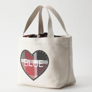 <ブルーレーベル・クレストブリッジ>ハートクレストブリッジチェック巾着ミニトートバッグ
