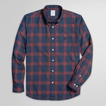 <ブルックス ブラザーズ>GF コットン/アクリル フランネル プラッド スポーツシャツ Regent Fit