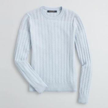 <ブルックス ブラザーズ>カシミヤ ケーブル/チェーンステッチ クルーネックセーター