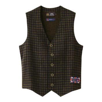 <ジム>英国羊毛前身布帛ブロックチェックジレ
