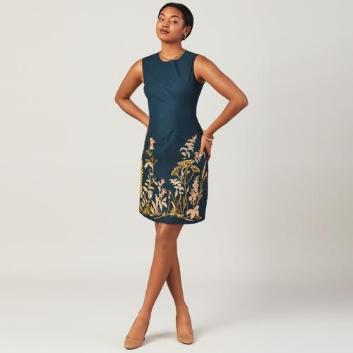 <ブルックス ブラザーズ>ストレッチコットン ボタニカルフラワーエンブロイダリー ノースリーブドレス