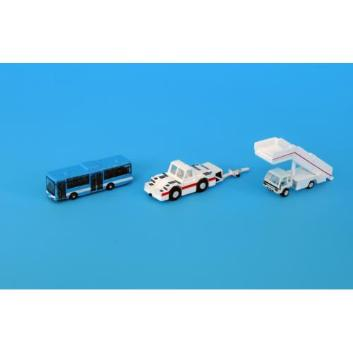 <ANAオリジナル>GSE40110 1:400 GSE 航空自衛隊青バスとステップカー、トーイングトラクターセット