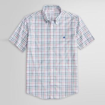 <ブルックス ブラザーズ>ノンアイロン GF ストレッチコットン プラッド ショートスリーブスポーツシャツ Regent Fit
